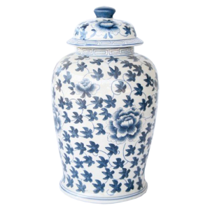 LARGE BLUE FLOWER GINGER JAR
