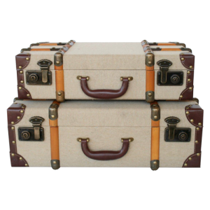 SET OF 2 BEIGE SUITCASES WOODEN STRIPS