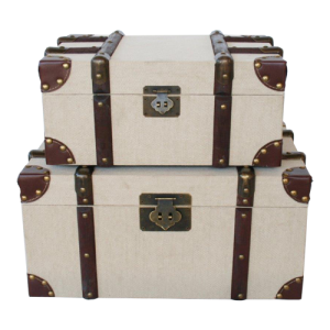 SET OF 2 BEIGE SUITCASES BROWN WOODEN STRIPS