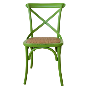 GREEN BENTWOOD CHAIR RATTAN SEAT