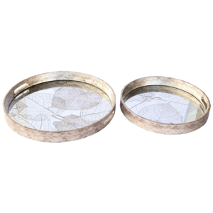 SET OF 2 ROUND LEAF MIRRORED TRAYS
