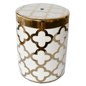 WHITE AND GOLD GEOMETRIC GARDEN STOOL