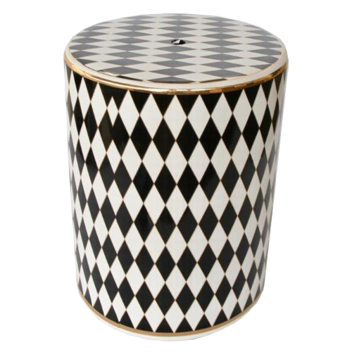 BLACK WHITE HARLEQUIN GARDEN STOOL