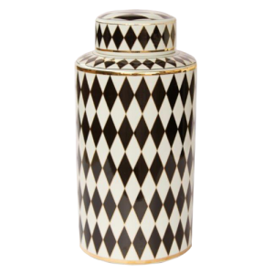 TALL BLACK AND WHITE GEOMETRIC JAR