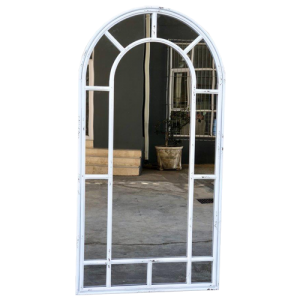 WHITE DISTRESS METAL ARCH MIRROR