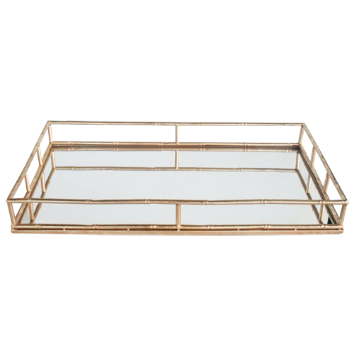 Gold Bamboo Look Mirrored Tray
