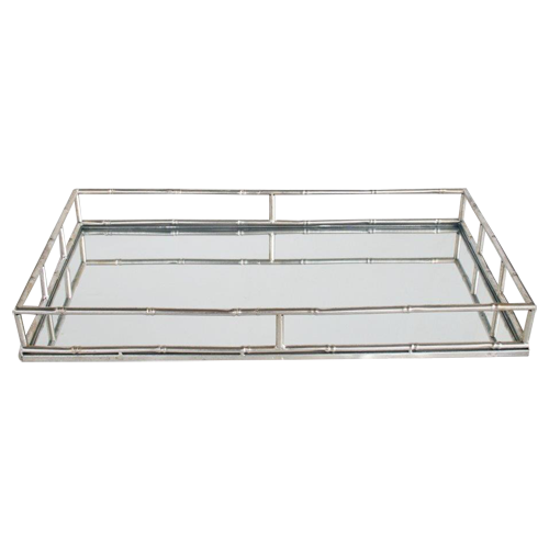 Silver Bamboo Look Mirrored Tray