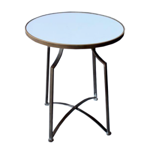 ROUND METAL TABLE MIRRORED TOP