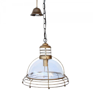Metal and Glass Hanging Light Dome