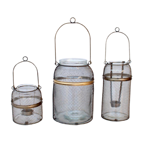 Thin Mesh And Glass Candle Holder