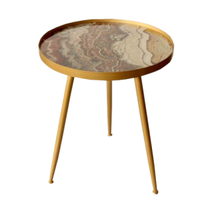 MARBLE LOOK 3 LEGGED SIDE TABLE