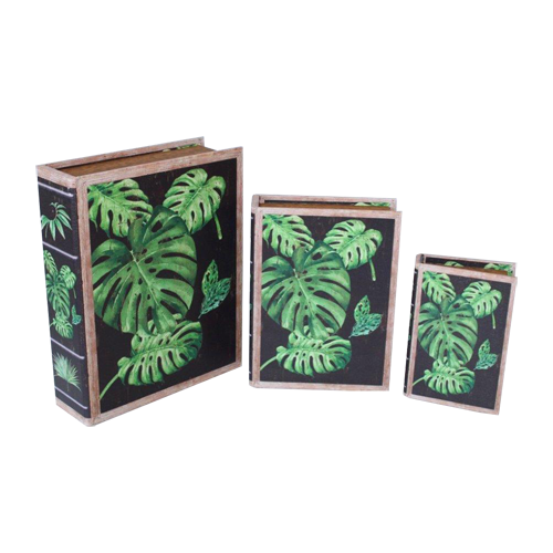 Set Of Three Delicious Monster Patterned Black Boxes