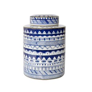 TALL BLUE PATTERN JAR