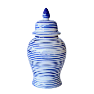 BLUE SWIRL CERAMIC GINGER JAR