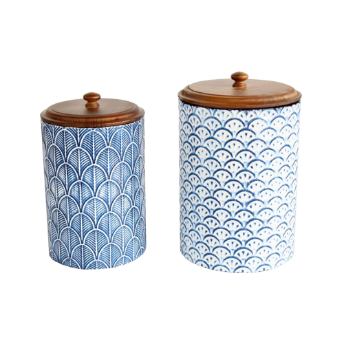 Set Of Blue and White Enamel Canisters.