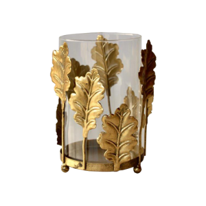 TIN290 GOLD PALM LEAF CANDLE HOLDER 19X15CM R158